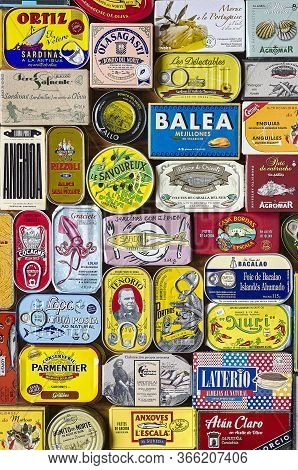 A European Selection Of Canned Fish With A Classic And Retro Packaging Design.
