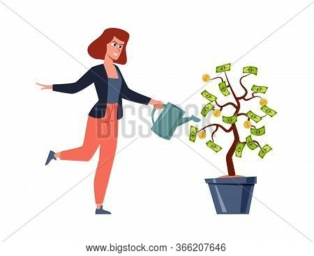 Woman And Money Tree. Rich Person With Investement Business Vector Finance Income Revenue Concept
