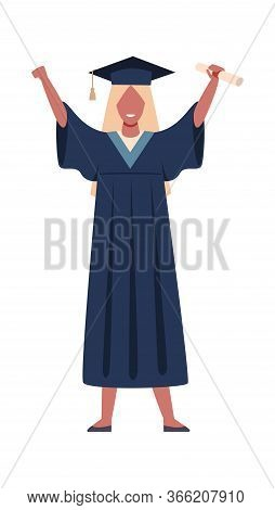 Graduated Student. Vector Girl Wearing Graduation Mantle Robe With Education Certificate Or Diploma