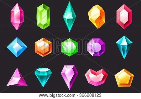 Cartoon Gem. Precious Stones, Colorful Jewelry Gems Diamond And Emerald. Quartz, Sapphire And Amethy