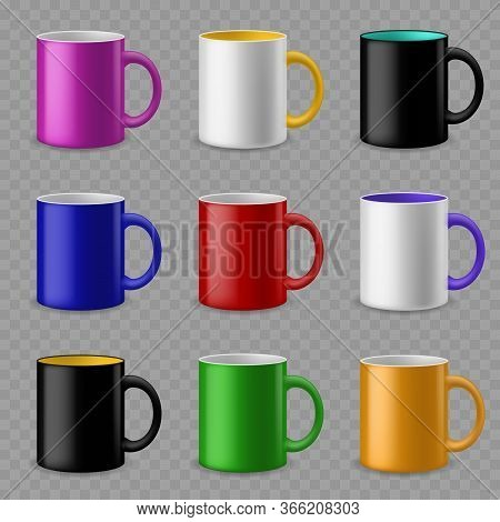 Color Cups. Ceramic Colorful Cup Template For Different Drinks, Branding Identity Design. Pottery Mu