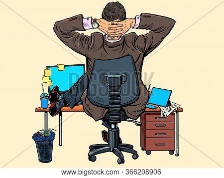 Giant Businessman At The Office Desk. Pop Art Retro Vector Illustration Kitsch Vintage 50s 60s Style