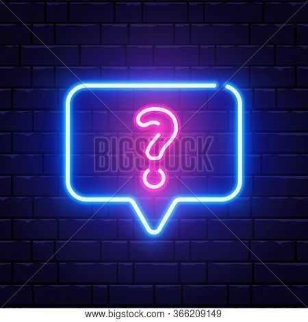 Neon Glowing Question Mark. Quiz Neon Banner. Color Neon Frame On Brick Wall. Realistic Bright Night