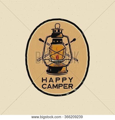 Happy Camper Logo Design Print. Camping Lantern Badge Badge. Wilderness Adventure Patch. Camp Design