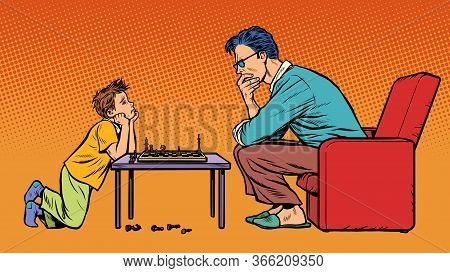 Father And Son Play Chess. Pop Art Retro Vector Illustration 50s 60s Style