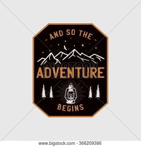 Wilderness Adventure Logo Design Print. Camping Lantern Badge. Great Outdoors Patch. Camp Design For