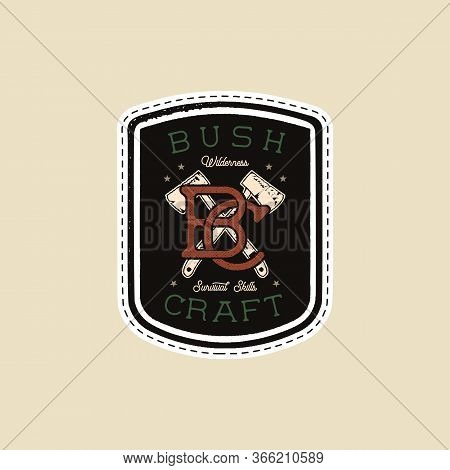 Vintage Camp Patches Logo, Mountain Badge. Hand Drawn Sticker Design. Travel Expedition, Backpacking