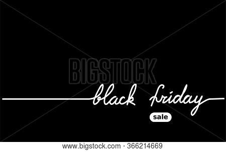 Black Friday Black Simple Vector Background. One Continuous Line Drawing Sale Consept. Mininal Black