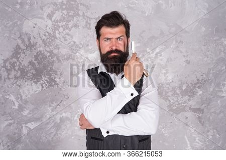 Bearded Man Hold Vintage Razor. You Get Deep And Clean Shave With Minimum Effort. Shaving With Strai