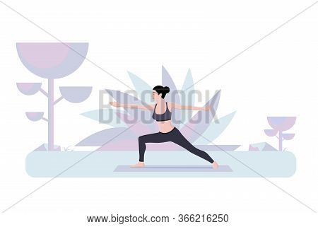 Summer Flyer Is Written Yoga Time Cartoon Flat. Banner Physical Activity Is Aimed At Maintaining Ove