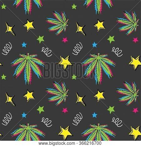 Weed Leaf Dark Pattern. Glitch Cannabis, Marijuana, Hemp, Weed Pattern In Memphis Design.