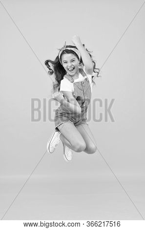 Active Girl Feel Freedom. Fun And Relax. Feeling Free. Carefree Kid On Summer Holiday. Time For Fun.