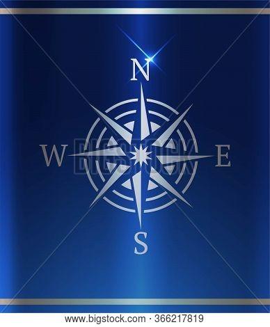 Wind Rose, Vector Silver Logo. Template Design