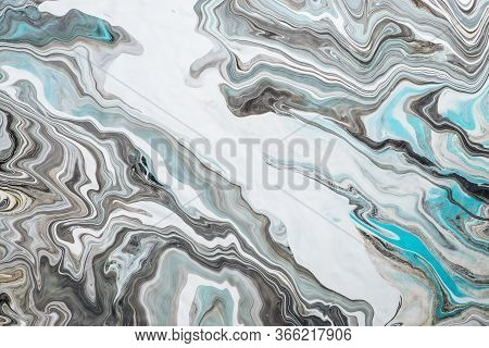 Imitation Marble Liquid Ink. Fluid Art Background With Light Blue Tints On White Surface. Abstract M
