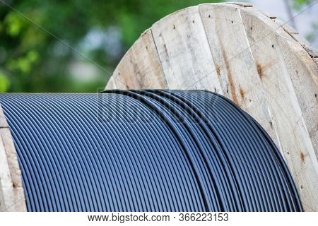 Cable Drum, Fiber-optic Cable Or Wire And Technology.