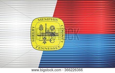 Shiny Grunge Flag Of The Memphis - Illustration,  Three Dimensional Flag Of Memphis