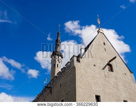 Fragment Of An Old Building With A Roof Wing In Old Town Of Tallinn. Tallinn, Estonia, Europe