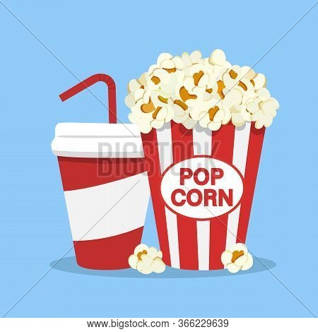 Popcorn Snack And Drink In Flat Style Isolated On White Backgorund. Popcorn And Soda Icon. Vector St