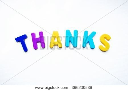 The Word Thank You On A White Background. Thank You From Childrens Letters. Thank You From Letters O