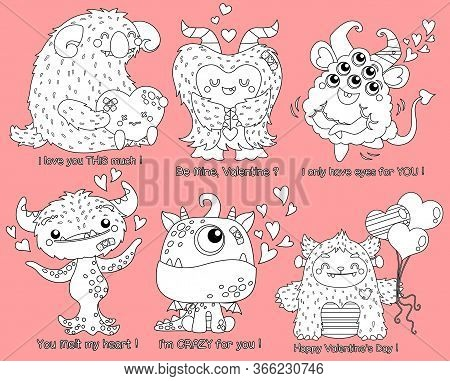 A Collection Of Cute Monster In Valentine Theme