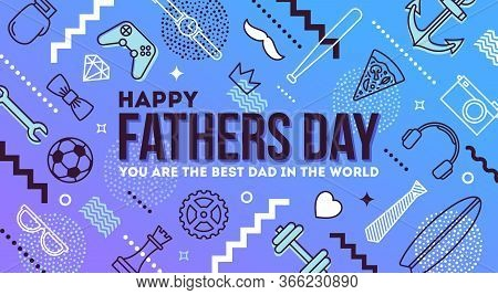 Happy Fathers Day Greeting Card. Mans Things And Objects Pattern With Fathers Day Greeting. Vector I
