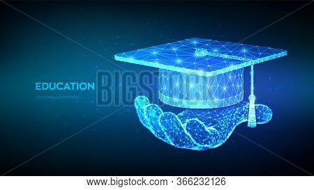 Abstract Low Polygonal Graduation Cap. Student Hat In Hand. E-learning Concept. Innovative Online Ed