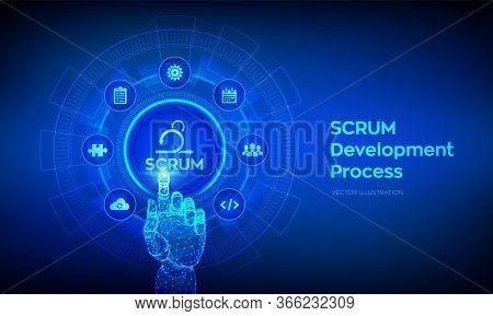 Scrum. Agile Development Methodology Process. Iterative Sprint Methodology. Programming And Applicat