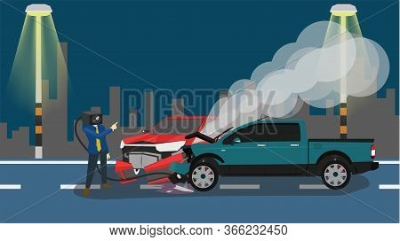 Cartoon Concept Cctv Camera Man Came Down To Explain The Accident. Accident Of Two Pickup Car In Fro
