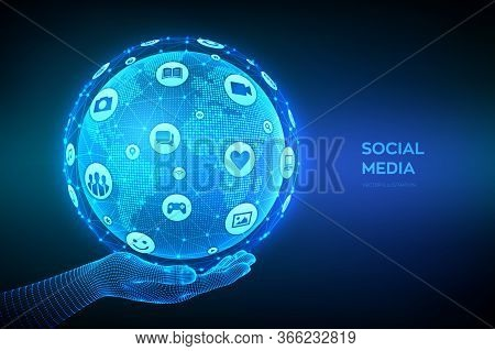 Social Media Connection Concept. Wireframe Sphere Made From A Different Social Media And Computer Ic