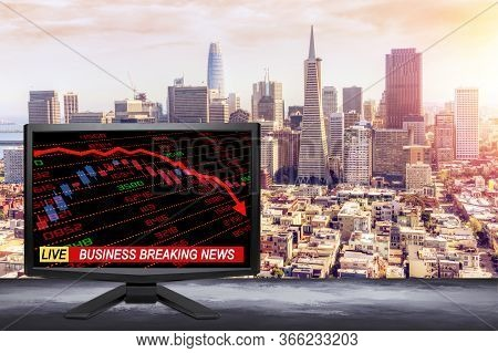3d Rendering Of Live Business Breaking News On Tv Screen With Stock And Financial Indicators Showing