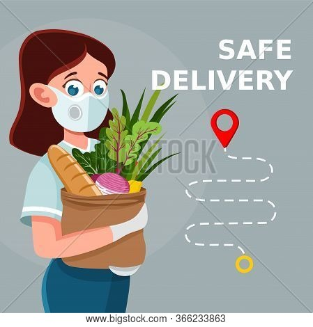 Safe Food Delivery. Delivery Of Goods During The Prevention Of Coronovirus, Covid-19. Woman Holds Fr