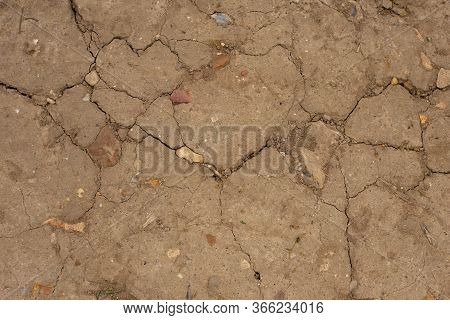 Ground Texture Background Of Brown Desert Soil, Dusty Land, Dry Earth, Clay And Sand. Climate Change