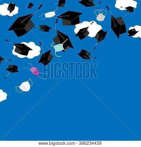 Funny Graduation Corner Background With Bonnets And Medical Masks In The Air. Flying Masks And Grads
