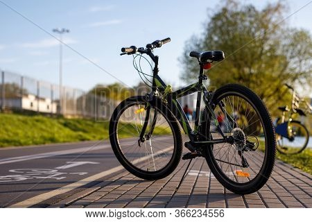 Bicycle On A Bike Path In The City