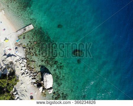 Dalmatia Drone View - Croatia Aerial Coast Landscape Photo. Beaches And Coast Of Mimice.