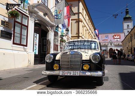 Zagreb, Croatia - June 30, 2019: Vintage Car Parked In Zagreb, Capital City Of Croatia. Zagreb Is Th