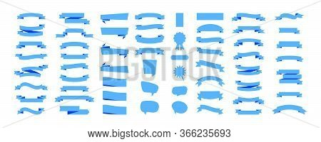 Ribbon Banners, Isolated On White Background. Ribbons Banners Collection Different Shape. Ribbon Ban