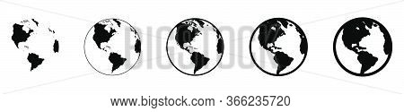 Earth Globe In Flat Designs. World Map In Circle. Earth Globes Collection. World Map In Modern Simpl