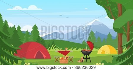 Cartoon Flat Tourist Camp With Picnic Spot And Tent Among Forest, Mountain Landscape View, Sunny Day