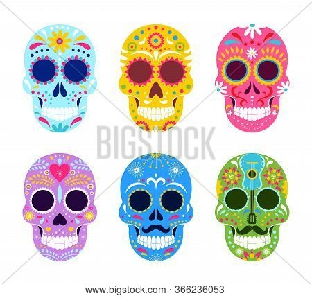 El Dia De Muertos, Mexican Day Of Dead Vector Illustrations. Cartoon Traditional Folk Ornament Art O