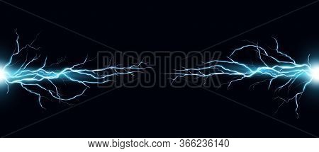 Lightning Bolts Realistic Vector Illustration. Powerful Thunderstorm Electricity Discharge Isolated
