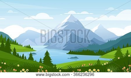 Cartoon Flat Panorama Of Spring Summer Beautiful Nature, Green Grasslands Meadow With Flowers, Fores