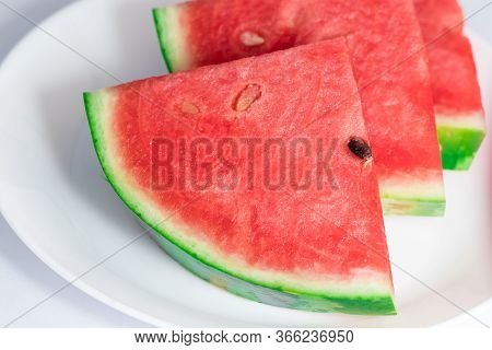 Close Up Of Pieces Watermelon On Dish White