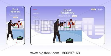 Bank Robbery Adaptive Landing Page Flat Color Vector Template. Armed Burglary Mobile And Pc Homepage
