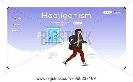 Hooliganism Landing Page Flat Color Vector Template. Public Property Destruction. Intentional Damage