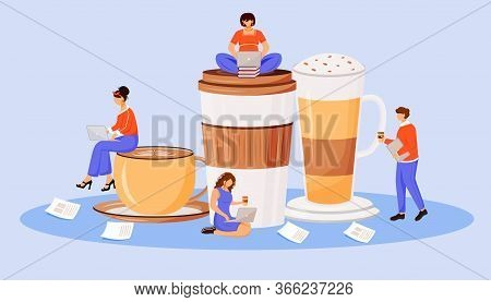 Coffee Culture Flat Concept Vector Illustration. Layered Macchiato. Hot Caffeine Drinks. Group In Co