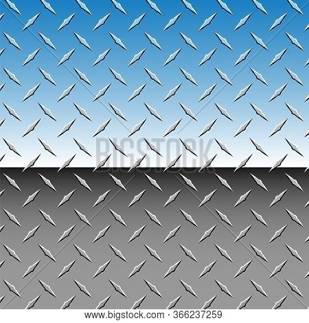 Realistic Chrome 3d Diamond Plate Metal Background Vector Illustration