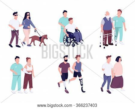 People With Disability Activities Flat Color Vector Faceless Characters Set. Elderly Man On Wheelcha