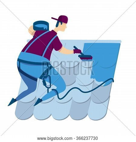 Repairman Flat Color Vector Faceless Character. Handyworker Painting Roof Blue. Man With Safety Belt