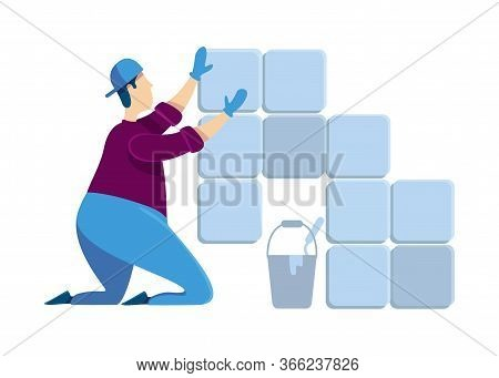 Tiler Flat Color Vector Faceless Character. Man Installing Ceramic Tiles. Guy At House Renovation. P